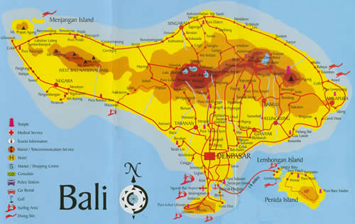 Map Of Bali Indonesia And The World